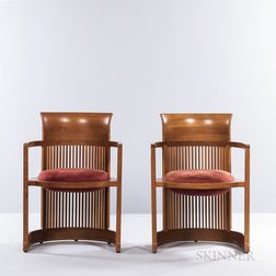 Two Frank Lloyd Wright by Copeland Taliesin Barrel Chairs