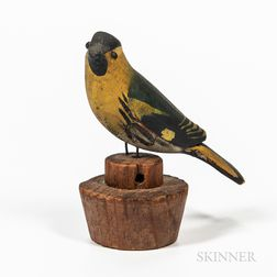 Carved and Painted Songbird