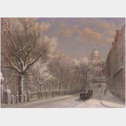 Sylvester Phelps Hodgdon (American, 1830-1906)  Winter, Park Street, Boston