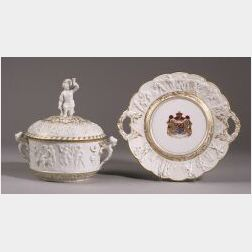 Capo-di-Monte Porcelain Covered Tureen and Stand, Italy, early 20th century, ovoid tureen bolded with central band of bacchantes, winge