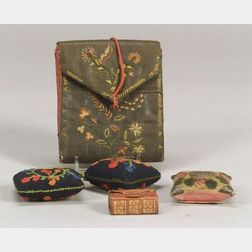 Needlework Pocketbook, Three Pincushions, Book-form Needle Case