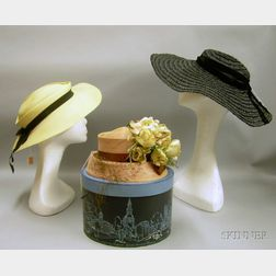 Three Lady's 1940s and Later Straw Hats