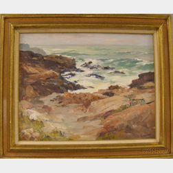 Framed 20th Century American School Oil on Canvas Coastal View, Possibly Rockport