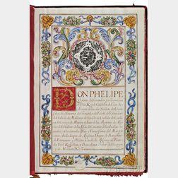 Philip V, King of Spain (1683-1746) Manuscript on Parchment, Carta Executoria de Hildalguia, 5 August 1701.