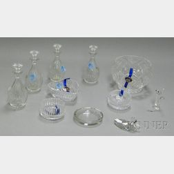 Ten Assorted Cut Colorless Crystal Table Items