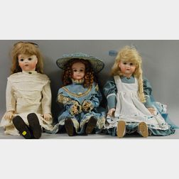 Three Reproduction French Bisque Head Dolls