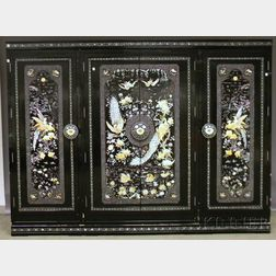 Korean Mother-of-pearl Carved and Inlaid Black Lacquered Four-door   Armoire