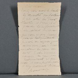 Bonnard, Pierre (1867-1947) Autograph Note Signed, undated.