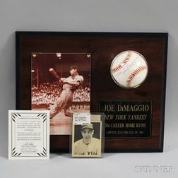 1939 Play Ball #26 Joe DiMaggio Baseball Card and a Signed Baseball