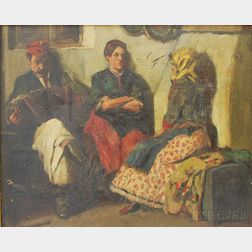 Imre Földes (Hungarian, 1881-1948)    Portrait of an Accordionist and Two Women