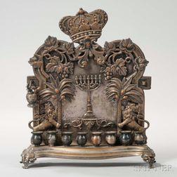 Polish Silver-plated Hanukkah Lamp