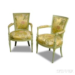 Pair of Louis XVI-style Painted and Upholstered Fauteuils