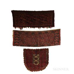 Three Turkoman Rugs, Two Torbas, and a Saddle Cover.     Estimate $300-400