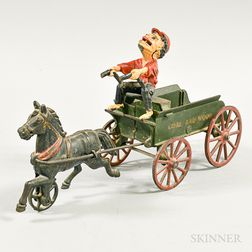 """Polychrome Cast Iron """"Coal and Wood"""" Horse and Wagon"""