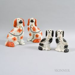 Two Pairs of Staffordshire King Charles Spaniels