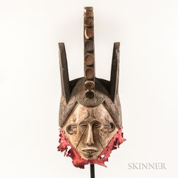 Ibo-style Carved and Painted Spirit Helmet Mask