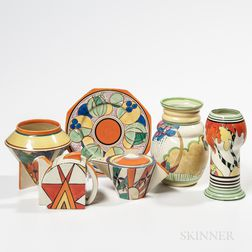 Six Clarice Cliff Pottery Items