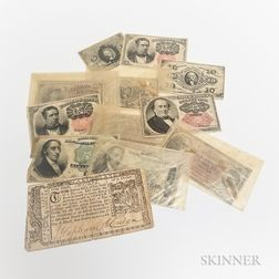 Twelve Fractional Currency Notes and a March 1, 1770 Maryland $1/6.     Estimate $200-300
