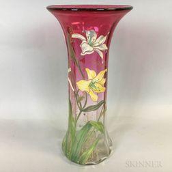 Enameled Art Glass Vase