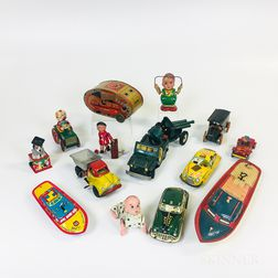 Fourteen Tin and Composite Toys