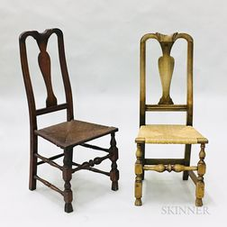 Two Queen Anne Maple Spanish-foot Side Chairs