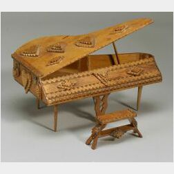 Miniature Notch-carved Grand Piano with Bench