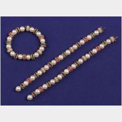 18kt Gold, Cultured Pearl, Diamond and Gem-set Necklace/Bracelet Set