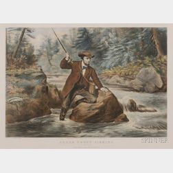 Currier and Ives, publishers (American, 1857-1907)      Brook Trout Fishing.  An Anxious Moment.