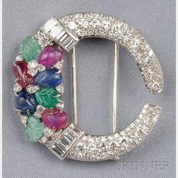 Art Deco Diamond and Gem-set Tutti Frutti Brooch