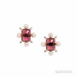 18kt Rose Gold, Pink Tourmaline, and Pearl Earrings