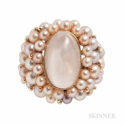 14kt Gold, Moonstone, and Cultured Pearl Ring