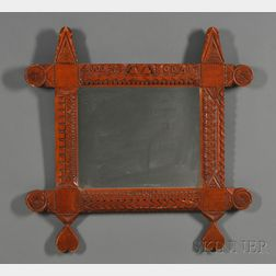 Chip-carved Tramp Art Mirror Frame