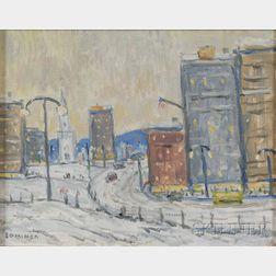Edgar Otis Miner (American, 1915-2003)      New York City in Winter.