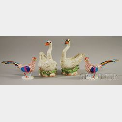 Pair of Herend Hand-painted Porcelain Pheasant Figures and a Pair of Italian Chelsea House/Cain Collection Hand-painted Porcelain Sw...