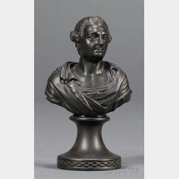 Miniature Wedgwood and Bentley Black Basalt Bust of Garrick