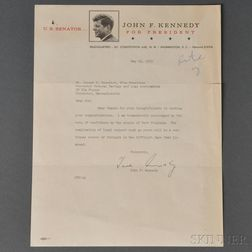Kennedy, John Fitzgerald (1917-1963) Typed Letter Secretarial Signature, 23 May 1960