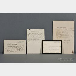 Artists' Notes and Letters, France, 20th Century.