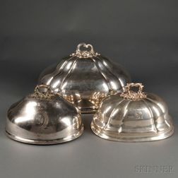 Three Silver-plated Meat Domes