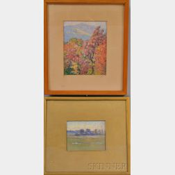 Two Framed Pastel Landscapes:      Marion P. Howard (American, 1883-1953),   Autumn Trees with Mountains