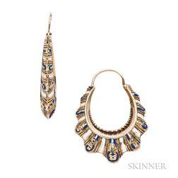 Antique Gold and Enamel Hoop Earrings