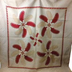 """Appliqued Cotton """"Princess Feather"""" Quilt.     Estimate $200-250"""