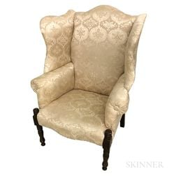 Country Turned, Painted, and Upholstered Wing Chair