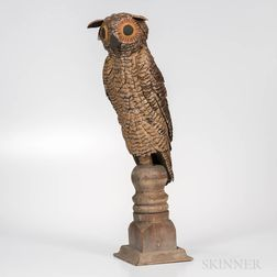 Painted Tin Owl on Stand