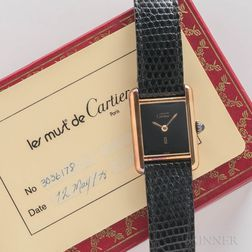 "Cartier ""Must de"" Wristwatch with Box and Card"
