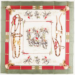 Three Framed Gucci Silk Scarves