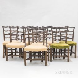 Set of Eight Chippendale-style Mahogany Ribbon-back Dining Chairs