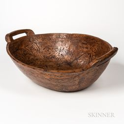 Large Carved Oval Handled Burl Bowl