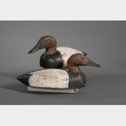 Pair of Carved and Painted Canvasback Duck Decoys