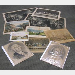 Ten Assorted Unframed Lithographs