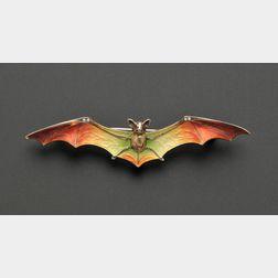 Art Nouveau .900 Silver and Enamel Bat Brooch